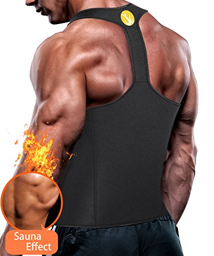 Junlan Men Workout Tank Top Vest Gym Shirt Weight Loss Dress Waist Body Shaper Sauna Suit Slim Corset Compression Clothes (L, Black Sauna Tank)