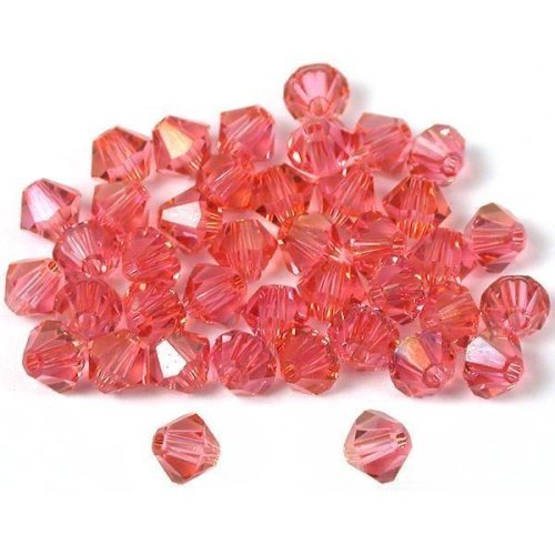 40 Rose Bicone Swarovski Crystal Beads Beading 5301 4mm