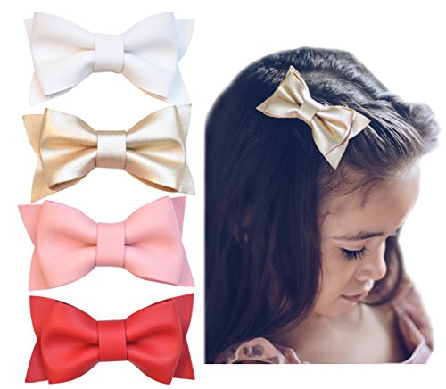 California Tot Premium Faux Leather Bow Hair Clips for Toddler, Girls, Mixed Set of 4 (Deluxe Set) -