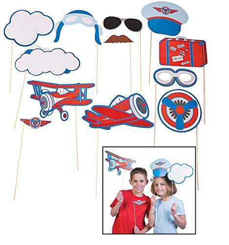 Up & Away Photo Stick Props (12 Pack) Aviator, Pilot-themed Party.