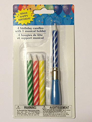 Musical Birthday Candles - Sings Happy Birthday - Blue -