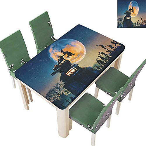 SpillProof Tablecloth Dead Queen in Castle and Zombies in Cemetery Love Affair Bridal Halloween for Picnic,Outdoor or Indoor 50 x 72 Inch (Elastic Edge)]()