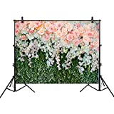 Allenjoy 8x6ft Thin Vinyl Wedding Backdrop Lovely Pink Rose Bouquet and Petal Wall Background for Photo Studio Photography or Decoration