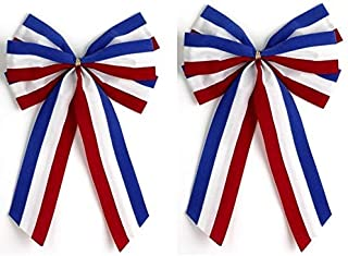 product image for Independence Bunting - 2-Pack! 6 Loop Large Red, White & Blue Patriotic Bows. American Made 4th of July Holiday Ribbon Bow is Good for Inside and Outdoors.