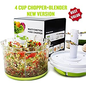 Arc Shaped Blade Manual Food Chopper Compact & Hand Held Vegetable Chopper/Mincer/Blender to Chop Fruits, Vegetables, Nuts, Herbs, Onions, Garlics for Salsa, Salad, Pesto, Coleslaw, Puree (4 Cup)