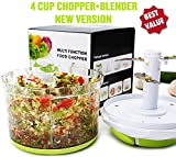 Manual Food Chopper: Compact & Powerful Hand Held Vegetable Chopper / Mincer / Blender to Chop Fruits, Vegetables, Nuts, Herbs, Onions, Garlics for Salsa, Salad, Pesto, Coleslaw, Puree-4 Cup/ 34 Oz
