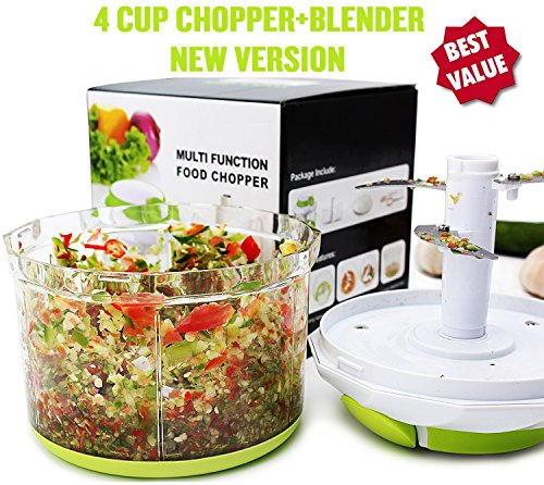 Herb Chop (Manual Food Chopper: Compact & Powerful Hand Held Vegetable Chopper / Mincer / Blender to Chop Fruits, Vegetables, Nuts, Herbs, Onions, Garlics for Salsa, Salad, Pesto, Coleslaw, Puree-4 Cup/ 34 Oz)
