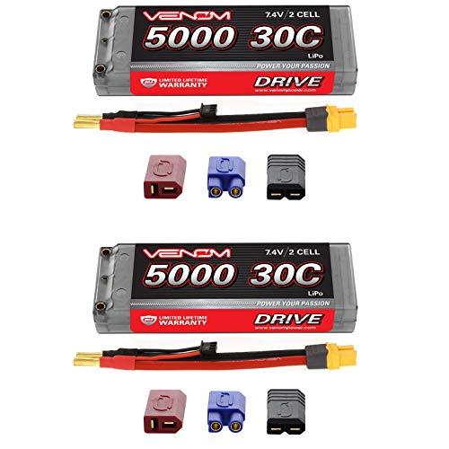 Venom 30C 2S 5000mAh 7.4V Hard Case LiPo Battery ROAR with Universal Plug (EC3/Deans/Traxxas/Tamiya) x2 Packs ()