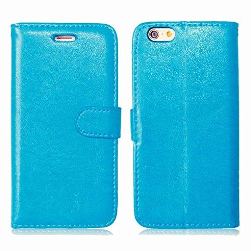 LEMORRY iphone 6 6s (4.7) Flip Coque Etui, Unique Soft TPU Core + PU Cuir Portefeuille [Slot pour Carte] & [Cadre] Rabat Stand Magnétique Housse Fermeture Protecteur Bumper Pochette Bleu