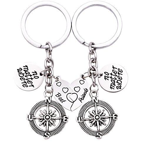 No Matter Where Compass Keychain Set Heart , Best Friend Necklaces 2 Piece for Teens Half Broken Heart Keychain,Two Piece Double Keychains (White) (Friends Forever Keychains)