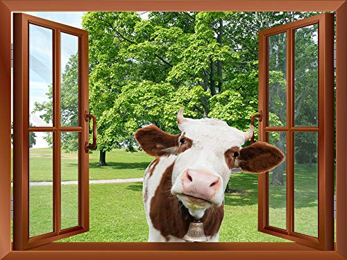 A Cow Sticking its Head into an Open Window Removable Wall Sticker Wall Mural