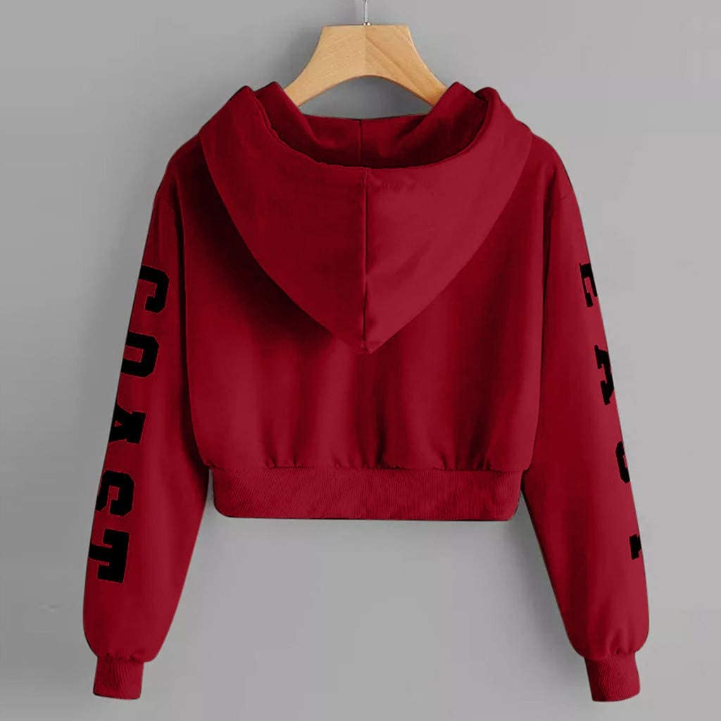 Lutos Women Casual Thin Sweatshirt Letter Print Long Sleeve Drawstring Hoodie Top Pullover