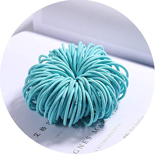 New 100PCS/Lot Girls Candy Colors Nylon 3CM Rubber Bands Children Safe Elastic Hair Accessories,Sky Blue]()