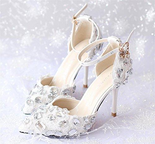 avec Pointues Chaussures de Talons Kitzen Féminines white de Robe Hauts Mariée Women Sandales Robe Red Mariage Rhinestone Lace wIngOqaR