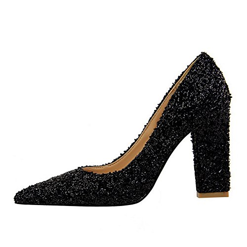 On High Odomolor Black Sequins AmagooTer Pumps Pointed Women's Heels Shoes Solid Toe Pull zIBIxqR
