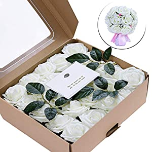 Gotian Artificial Flowers Coral Roses 50pcs Real Looking Fake Roses for DIY Wedding Bouquets Centerpieces - Birthday, Friend's Wedding, Anniversary Occasion - 50 x Artificial Flower (White) 81
