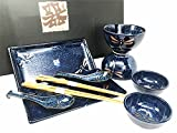 Authentic Made in Japan 10-Piece Asian Dinnerware Set in Original Black Shrink Wrap Sealed Gift Box (Japanese Serveware Plates Sushi Dish