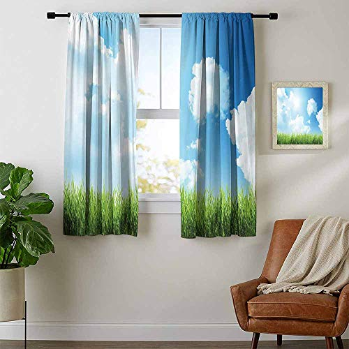 (Sky, Curtains Dining Room, Sunny Day Image with Green Grass Sun Rays Clouds Beauty of Nature Country Meadow, Curtains for Kitchen Windows, W72 x L72 Inch Blue Green White)