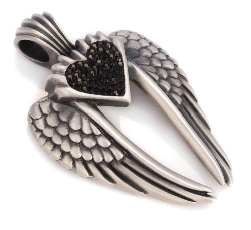 Rhinestone Heart Wing - Bico Wings Of Uriel Pave Pendant (PV7 Black) - love is my destiny you are my fate - Swarovski Crystal