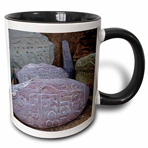 3dRose Danita Delimont - Ellen Clark - Religion - Jammu and Kashmir, Ladakh, road prayer stones. - 15oz Two-Tone Black Mug - Kashmir Stone