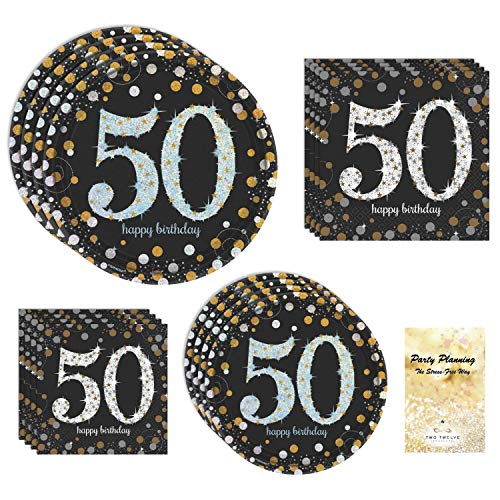 50th Birthday Party Dinnerware Set Bundle, Sparkling Celebration Design | Service for 16 | Black, Gold, and Silver with Metallic Inks | Includes Dinner Plates, Dessert Plates, and 2 Sizes of Napkins