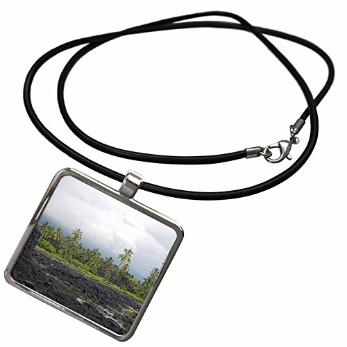 3dRose Sandy Mertens Hawaii Travel Designs - Puuhonua o Honaunau Fishpond, Palm Trees and The Great Wall in Back - Necklace with Rectangle Pendant (ncl_232782_1)