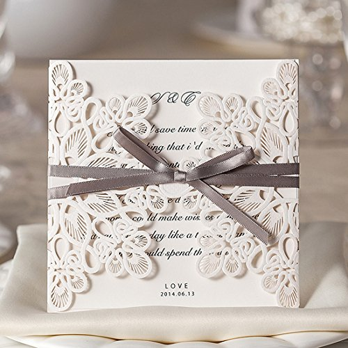 WISHMADE 50 Elegant Blank Printable Laser Cut Wedding Invitations Cards, Quinceanera Baby Shower Engagement Birthday Invites, with Brown Ribbon Bowknot Cardstock WM207 (Template Birthday Invitation)
