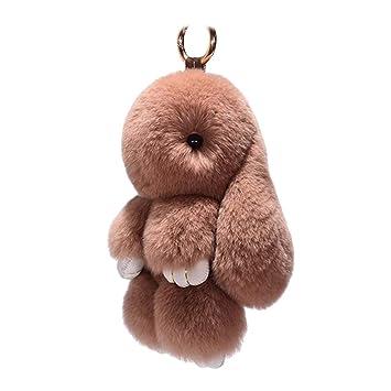 Toyvian Conejito de Peluche Conejito de la muñeca Llavero de Piel de Conejo de imitación Bolso del teléfono móvil Colgante de Carro Colgante Adorno, ...