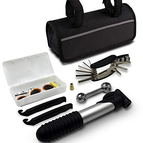 LEEMOON Mini Bike Repair Tool kit with Pump - Mini Bicycle Repair Tool kit with Pump,16 in 1 Bicycle Essential Multi Tools Set ()