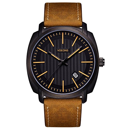 Voeons Men's Analog Auto Date Quartz Wat - Leather Strap Quartz Movement Shopping Results