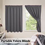 PONY DANCE Gray Blackout Blinds – Thermal Shades Window Pleated Drapes Easy Install with Magic Strips for Basement/Garage/Loft/Travel No Pole Need with Tie Backs, 40 x 54 in, Gray, 2 Panels Review