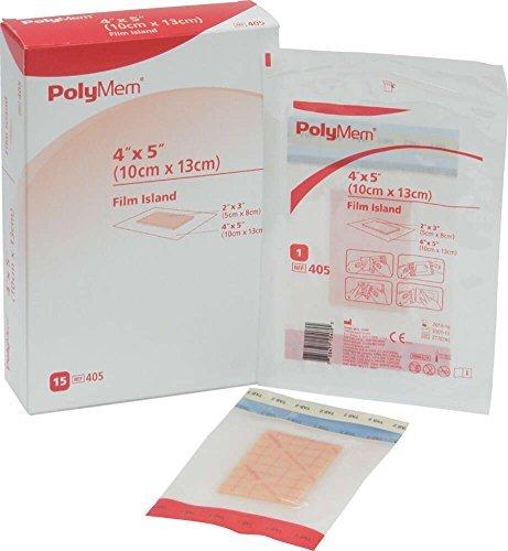 PolyMem Film Island Wound Dressing, Sterile, Foam, 4
