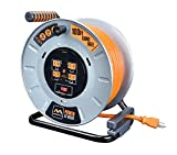 Masterplug Heavy Duty Metal Cord Reel with 4-120V 15amp Integrated Outlets and 12 High Visibility Cord (100ft)