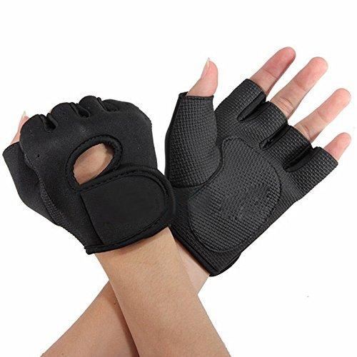 Flammi Women's Sport Cycling Fitness GYM Workout Exercise Half Finger Gloves (Black Fingerless Neoprene Gloves)