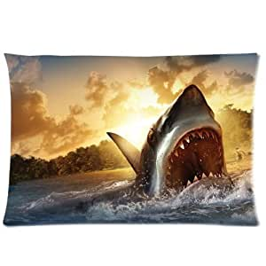 LarryToliver You deserve to have single-sided printing Plush cloth 20 X 30 inch pillowcase Shark Attack (4) best pillow cases