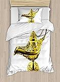 Ambesonne Arabian Duvet Cover Set Twin Size, Aladdin`s Magic Genie Lamp Wish Mystery Magic Wonder Adventure Story Inspired Art, Decorative 2 Piece Bedding Set with 1 Pillow Sham, Yellow White
