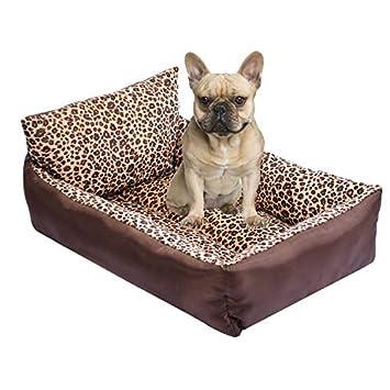 Kondrao - Cama estilo sofá con respaldo para perros, estampado de leopardo, felpa corta, ideal para mascotas pequeñas o medianas: Amazon.es: Productos para ...