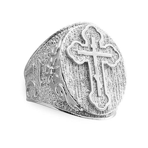 Celtic Knot Flower Ring (Men's Bold 925 Sterling Silver Celtic Cross Trinity Knot Ring (Size 13))