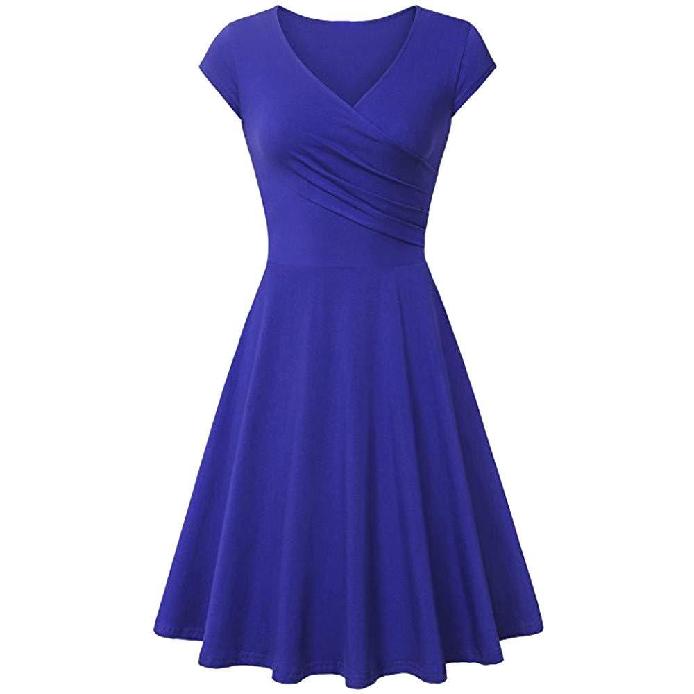 Ulanda Womens Elegant Dresses Cross Wrap V Neck Cap Sleeve A Line Dress Simple Chic Evening Party Dress Blue