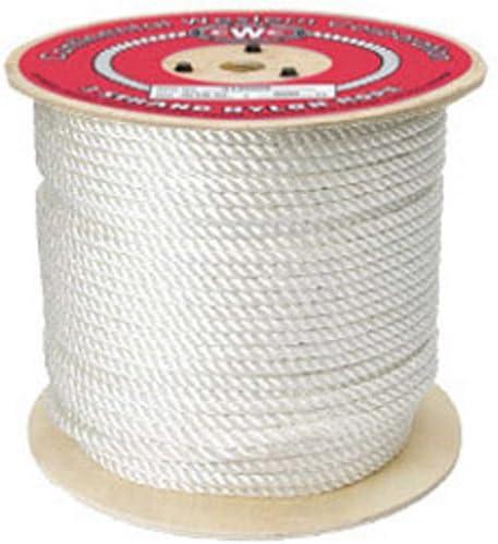 """CWC 3-strandナイロンロープ、ホワイト 1/2"""" x 600' ホワイト 315055"""