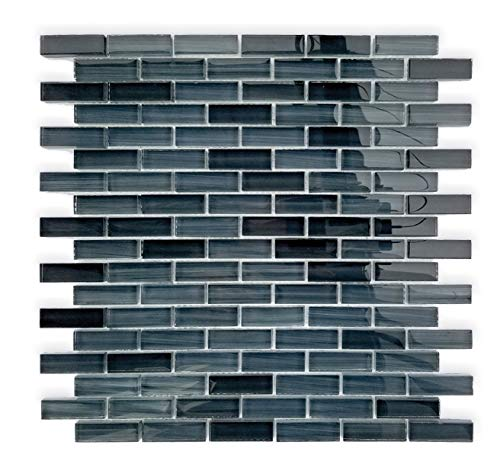 Cer-Glass Tile BG1548 12x12 (Sheet Size) Crystal Glass Mosaic Tile Kitchen Backsplash, Bathroom, Wall (11 Sheets) (Chip Size: 15x48 mm) (11 Pieces 11Sq.ft.)