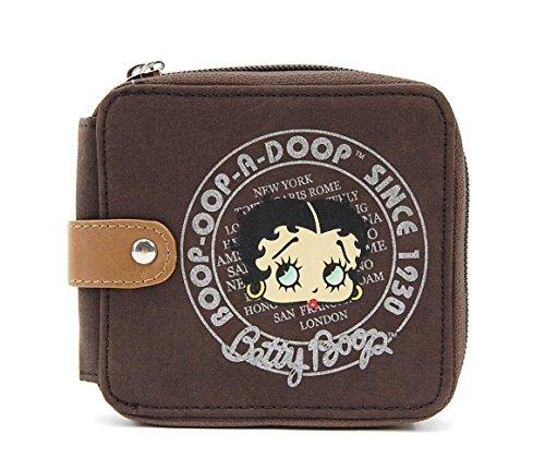 Betty Boop Suede Small Wallet with Around Zip Closure (Brown (Brown Suede Zip)