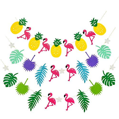 3 Packs, Size Apprpx.5.2 x 3.6 inches Fabric Tropical Rainforest Multicolored Pattern Pink Flamingo Pineapple Leaves Decorations Girls Room Birthday Wedding Club Salon Party String Banner -
