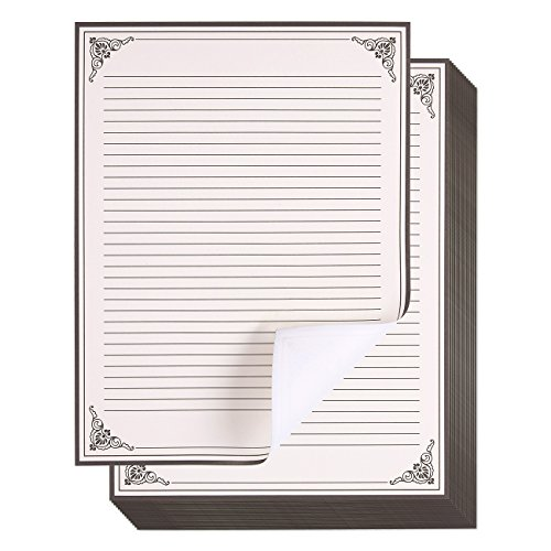 Juvale 48 -Pack Vintage Stationery Paper - Antique Style Paper - Perfect for Writing Poems, Lyrics and Letters - Cream - 8.5 x 11 Inches]()