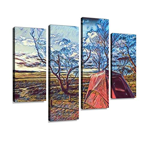 Drawing of a Tent in Countryside Canvas Wall Art Hanging Paintings Modern Artwork Abstract Picture Prints Home Decoration Gift Unique Designed Framed 4 Panel (Best Canvas Tents Australia)