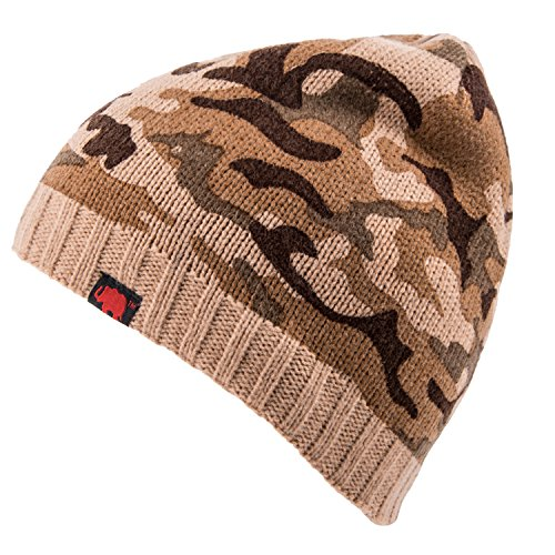 Elephant Brand Men's Beanie (100% Acrylic Camo With Ribbed Brim Tan) (Tan Camo)