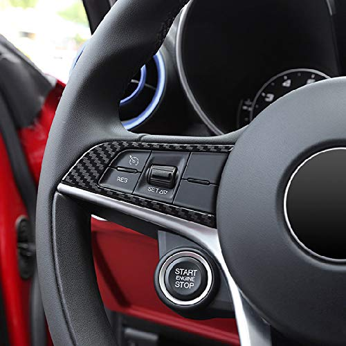 TOOGOO 2 Pcs Style de Fibre de Carbone pour Alfa Romeo Giulia Stelvio 2016 2017 2018 ABS Chrome Volant Decoration de Cadre Accessoires de Garniture