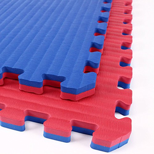 Incstores – Tatami Foam Tiles (Red/Blue, 25 Tiles) – Extra thick mats perfect for martial arts, MMA, lightweight home gyms, p90x, gymnastics, yoga, cardio, aerobic, and exercises For Sale