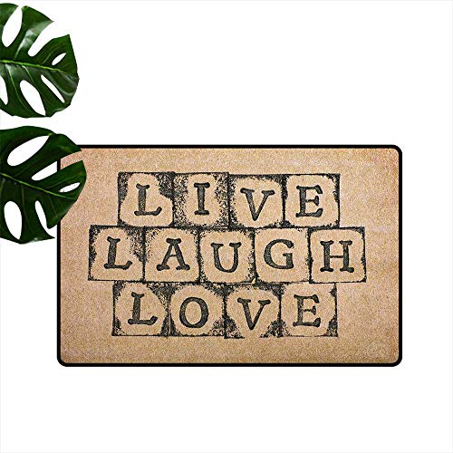 Live Laugh Love,Floor Mats Black Alphabet Stamps on Aged Grungy Looking Backdrop Vintage Print 24