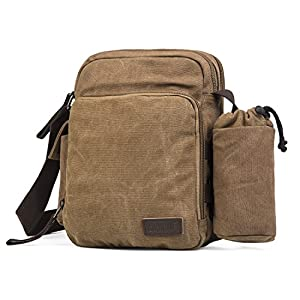 Multifunction Versatile Canvas Messenger Bag Handbag Crossbody Shoulder Bag Leisure Working Bag Change Packet (Coffee)
